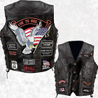 Mens Black Leather Motorcycle Vest Waistcoat with 14 Biker-Style Patches Eagle