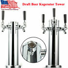 "3"" Stainless Steel 2/3 Tap Draft Beer Kegerator Tower Chrome Faucet Homebrew Bar"