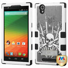 For ZTE ZMax Z970 Hybrid TUFF Hard Protective Cover Case +Stand