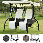 2 Seater Rattan Swing Chair Garden Cushioned Hammock Bench Seat Lounger Set New