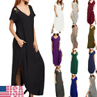 Women's V Neck Side Pockets Split Hem Sexy Beach Casual Long Maxi Dress