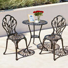 3 Pcs Bistro Table And Chairs Set Cast Aluminium Patio Balcony Garden Furniture