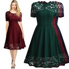 MIUSOL Women Vintage A-line Dress, Lace and Short Sleeve for formal of office