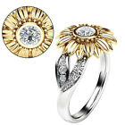 Us Stock Women Sunflower Silver Ring Plated Zircon Promise Wedding Jewelry Gifts