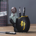 3PCS Chiese Ceramics Pottery Handmade Lovable Small Monk Brush Pot Pencil Vase image