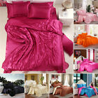 Comfortable Satin Silk Fitted Sheet Bed Flat Sheet Set Bedding Set Pillow Case image