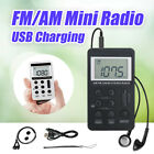 fm am mini radio pocket receiver portable digital lcd stereo earphone set usb au