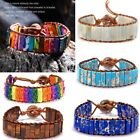 7 Chakra Bracelet Women Handmade Natural Stone Tube Beads Leather Bangle Jewelry image