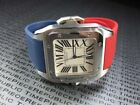 New 23mm PU Rubber Strap CARTIER SANTOS 100 XL Band Mix Red Blue Color
