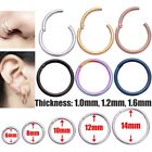 Titanium Hinged Segment Nose Ring Ear Cartilage Tragus Helix Lip Piercing Usaful image
