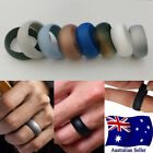 Silicone Rubber 8.5mm Width Wedding Ring Flexible Band Sport Gym Safe Work 1pc