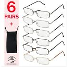 READING GLASSES MENS WOMENS METAL SPRING HINGE READERS FRAMES 6 PAIRS WITH CASE