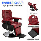 Hydraulic Recline Chair Hair Salon Iron Leather Sponge Barber Chair Wine Red US
