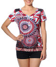Smash Barcelona S-XXL UK 10-18 RRP ?41.50 Corumba Tshirt Top Red Grey Geometric