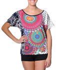 Smash Barcelona S-XXL UK 10-18 RRP ?36 Frida Tshirt Top Blue & Bright Geometric