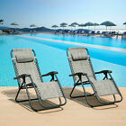 Sunloungers Heavy Duty Textoline Garden Chairs Outdoor Zero Gravity Chairs