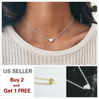 Simple Minimalist Choker Dainty Silver Gold Chain Pendant Necklace Heart 1