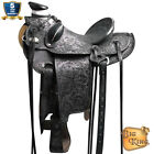 15 16 17 in Western Horse Wade Saddle Leather Ranch Roping Antique Black U-BKRO