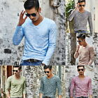 Men's V-Neck Slim Skinny T-shirt Casual Long Sleeve Soft Shirt Spring Tops image