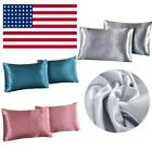 Silk Satin Pillowcase 2 Pack Silky Pillow Cases Bedding Standard Cushion Cover image