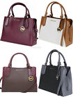 Michael Kors Kimberly Large East West Satchel Brown Merlot Vanilla Black Rose image