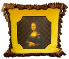 Louis Vuitton with Mona Lisa Print on Canvas Velvet Pillow with Brown Fringe.