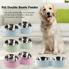 Dog Double Bowl Puppy Food Water Feeder Stainless Steel Pets Drinking Dish /B3