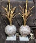 Vintage Pair of Two 2 Venetian Glass Albaster Tole Wheat Italian Italy MCM Lamps