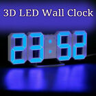 Modern Digital 3D White LED Wall Clock Alarm Clock Snooze 12 Hour Display US