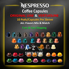 Nespresso Coffee 10 Capsules Pods Original Line / VertuoLine Sleeves No Minimum