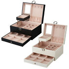 PU Leather Jewelry Box Organizer Case Two-Layer Display Box with Lock and Mirror
