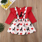 Toddler Kids Baby Girls Valentine's Day Clothes Tops Skirt Dress Outfits 2Pcs