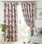 PAINTED-STYLE FLORAL FLOWERS SCARLET RED LINED PENCIL PLEAT CURTAINS 9 SIZES