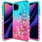 For Apple iPhone 11 Pro Xs Max Xr Xs Shockproof Bling Liquid Glitter Clear Case