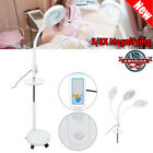 5/8X LED Facial Magnifying Floor Lamp Rolling Magnifier Tattoo Lamp with Tray US