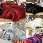 4 Pcs Silk Satin Bedding Set Duvet Cover + Fitted Sheet + 2 Pillow Cases Cushion image