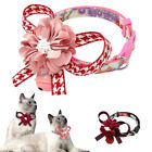 Cat Kitten Flower Leather Breakaway Collar With Bell Quick Release Safety Buckle