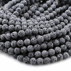 Unwaxed Black Gray Lava Bead 4mm 6mm 8mm 10mm Essential Oil Treatment 16' Strand