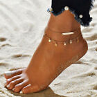 Women Dual-layer Pendant Anklet Ankle Bracelet Sandals Barefoot Jewelry Novelty