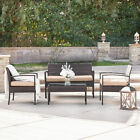 4PCS Outdoor Rattan Wicker Patio Set Garden Lawn Sofa +Chair Furniture Cushioned