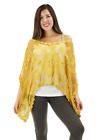 Crochet Lace Poncho with wide scoop neckline