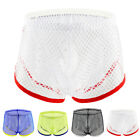 Men's Sexy Mesh See-through Boxers Briefs Low Waist Breathable Underwear Novelty
