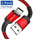 USB Type C Cable 3A Fast Charging, JSAUX(2-Pack 6.6ft+6.6ft) USB-A to USB-C Char