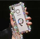 Luxury Bling Glitter Ring Stand Diamond Lanyard Case Crystal Clear Back Cover