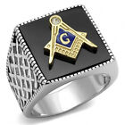 Men's Stainless Steel 316 Two Tone IP Gold Jet Black Agate Masonic Ring 8-13