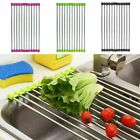 Roll Up Dish Drying Rack Over the Sink Stainless Steel Colander Dish Kitchen USA