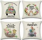 Jugroupe Set Of 4 Easter Bunny And Eggs Throw Pillow Covers 18X18 Inch Farmhouse