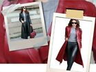 Womens Real Black or Red Leather Trench Coat Steampunk Long Coat Ladies Jacket