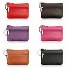 Women Leather Card Key Ring Mini Purse Wallet Pouch Zip Small Change Bag Solid image