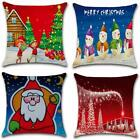 Resiont Set Of 4 Throw Pillow Covers 18 X 18 Cotton Linen Red Christmas Snowman